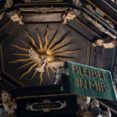 Symbol for the Holy Spirit in the pulpit sounding board